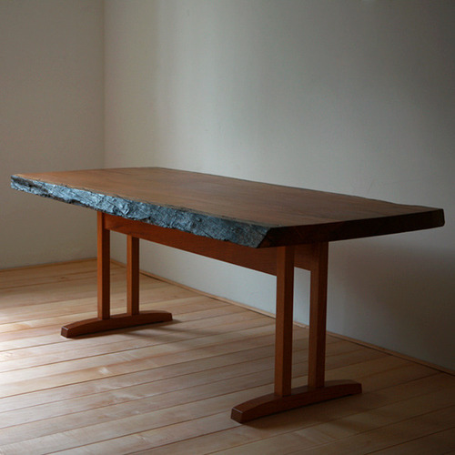 shaker slab table (afzelia)