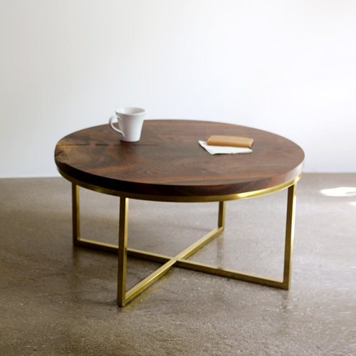 circle walnut coffee table