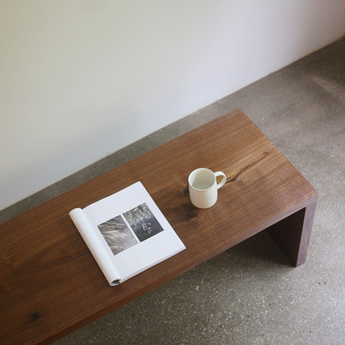 walnut wood slab bench