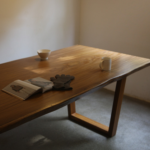natural teak woodslab table