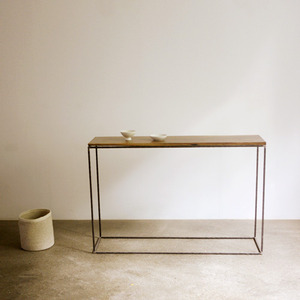 MJ walnut frame forged table